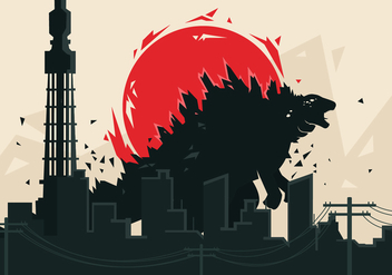 Godzilla Vector Background - vector gratuit #406353
