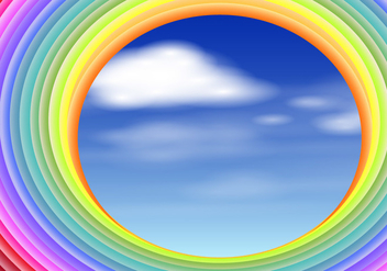 Rainbow Slinky With Sky Scene Illustration - Free vector #406563