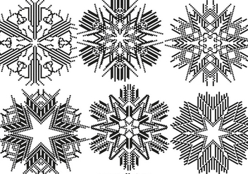 Vector Pixelated Snowflakes Set - Free vector #406613