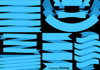 Vector Set Of Blue Flags/Ribbons - vector gratuit #406623