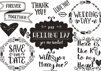 Hand Drawn Wedding Doodles - Free vector #406683