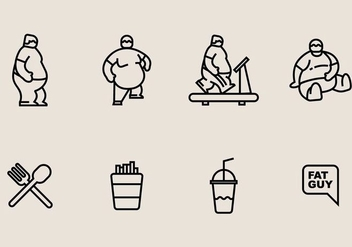 Fat Guy Icons - vector #406813 gratis