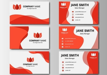 Free Red Business Name Card Vector - бесплатный vector #407103