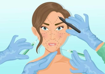 Woman Face Plastic Surgery - vector gratuit #407163