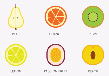 Set of Flat Fruits - бесплатный vector #407243
