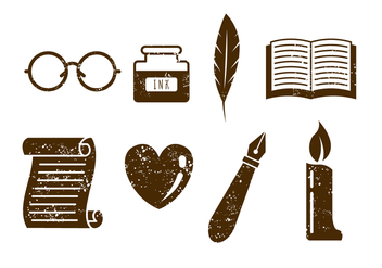 Poem Writer and Poet Vector Icons - Free vector #407483
