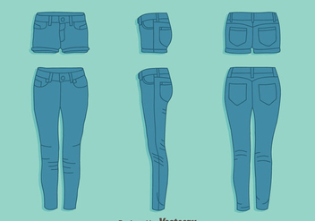 Blue Jean And Hot Pant Vector Set - Free vector #407603