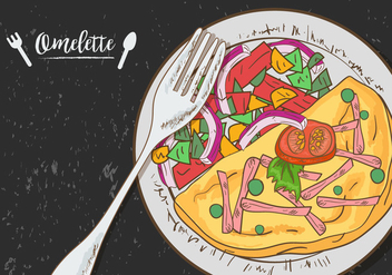 Omelette Vegetable On Plate - бесплатный vector #407773