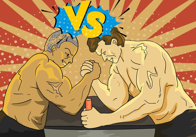 Arm Wresting With Versus Letter Illustration - Free vector #407783