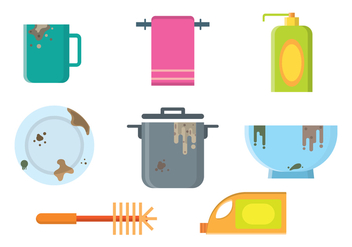 Free Dirty Dishes Vectors - Kostenloses vector #407803