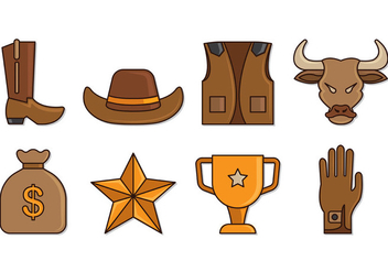 Set Of Bull Rider Icons - Free vector #407833
