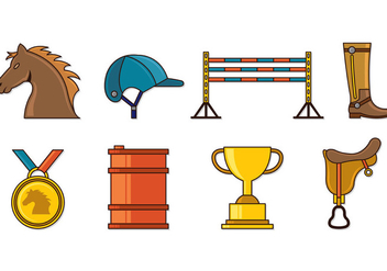 Set Of Barrel Racing Icons - vector #407853 gratis