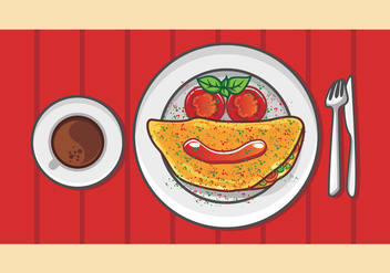 Breakfast Illustration Of Omelet - vector gratuit #408223