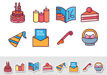 Free Birthday Sticker Icons - vector gratuit #408433