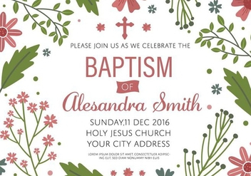 Free Baptism Invitation Template Vector - Free vector #408873