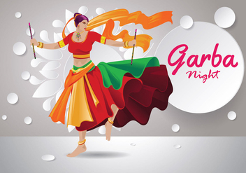 Vector Design of Woman Playing Garba Dance - Free vector #408923