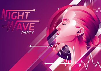 Flatline Night Wave Party Free Vector - Free vector #408963