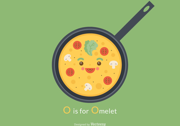 Free Cute Omelet Vector Illustration - Free vector #408993
