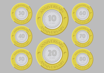 Gold and silver anniversary badges - vector gratuit #409303