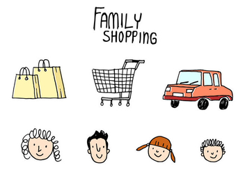 Family Shopping Doodle Vector - vector gratuit #409373