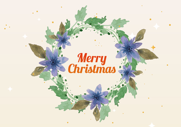 Free Christmas Watercolor Wreath Vector - Free vector #409443