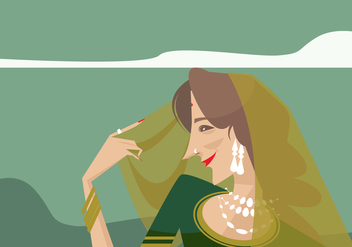 Indian Woman Vector - Free vector #409523