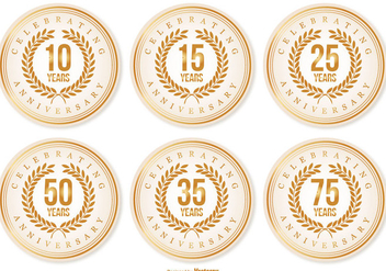 Beautiful Anniversary Labels - Kostenloses vector #409593