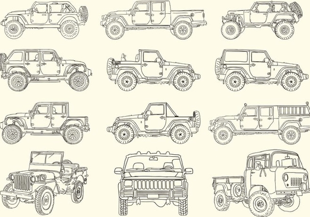 Hand Drawn Jeep Collection - бесплатный vector #409633
