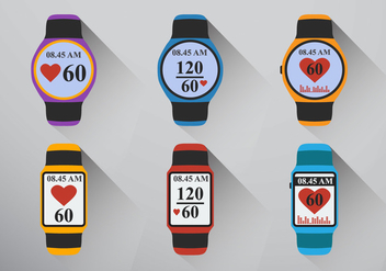 Smart watch heart rate - vector gratuit #409823