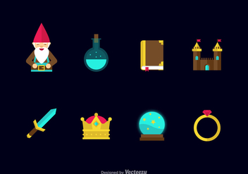 Free Flat Fairy Tale Vector Icons - Kostenloses vector #409873