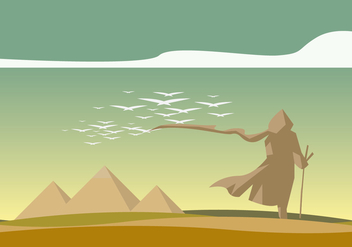 A Walking Men and Piramide Landscape Vector - Free vector #409963