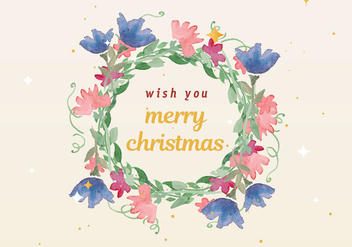 Free Christmas Watercolor Wreath Vector - бесплатный vector #410043