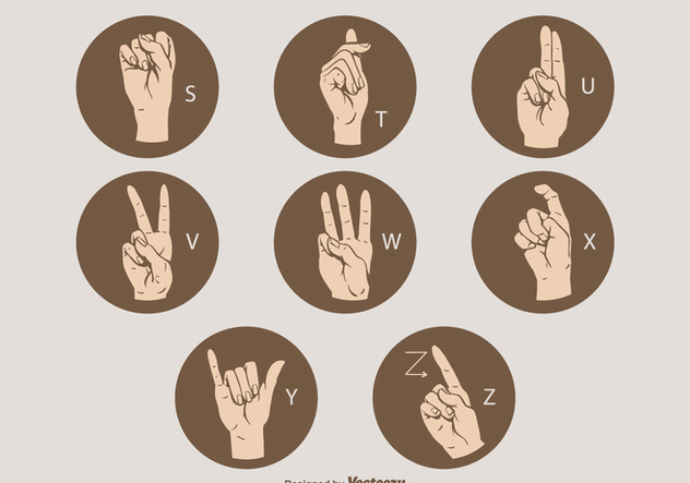 Free Vector Sign Language Letter Set S - Z - Kostenloses vector #410103