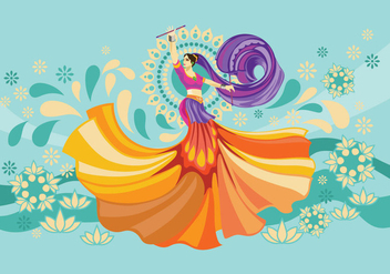 Vector Design of Woman Playing Garba Dance - Free vector #410223
