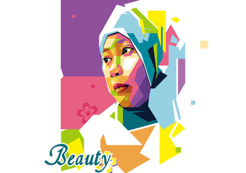 Beauty Girl - Popart Portrait WPAP - Free vector #410243