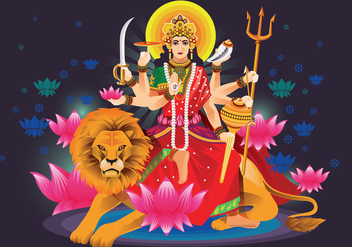 Vector Illustration of Goddess Durga in Subho Bijoya - бесплатный vector #410323