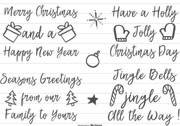 Cute Hand Drawn Christmas Lettering - vector #410413 gratis