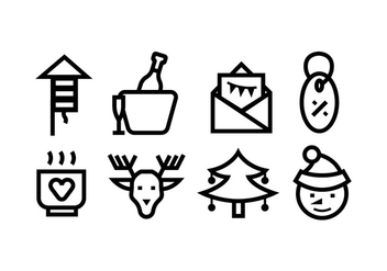 Christmas line icons - Free vector #410443