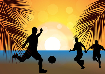 Beach Soccer Football Sunset Silhouette - vector gratuit #410653