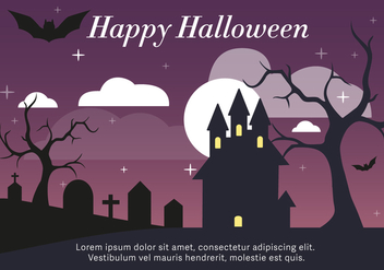Haunted House Vector Illustration - vector gratuit #411043