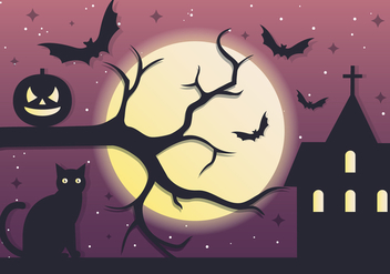 Spooky Tree Halloween Night Vector Background - Free vector #411053