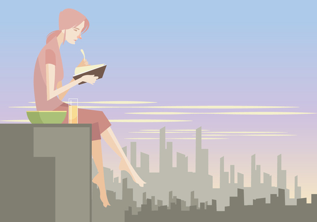 A Girl Reading a Book While Eating Snacks at the Rooftop Vector - Free vector #411143