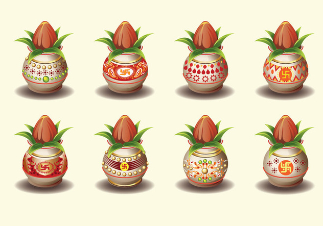 Set Vector illustration of Kalash with Coconut and Mango Leaf - Free vector #411163