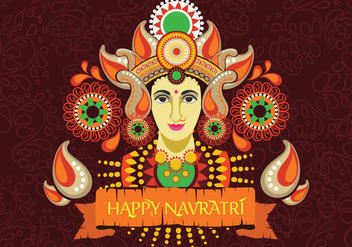 Maa Durga Face Design on Retro Background for Hindu Festival Shubh Navratri - vector gratuit #411173