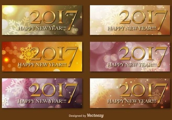 Happy New Year 2017 Vector Banners - Free vector #411223
