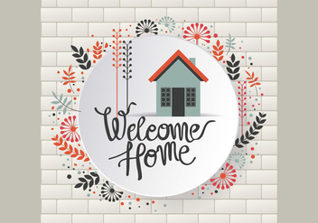Floral Welcome Home Sign Vector - Kostenloses vector #411253
