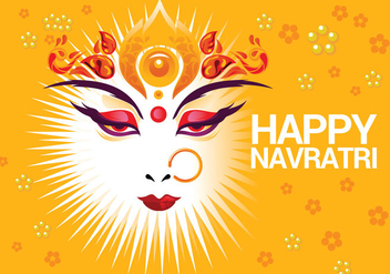 Beautiful Greeting Card Hindu Festival Shubh Navratri - vector #411263 gratis