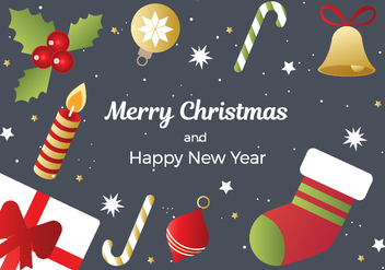 Free Christmas And New Year Background Vector - vector gratuit #411303