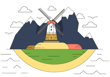Windmill Hill Vector Illustration - бесплатный vector #411523
