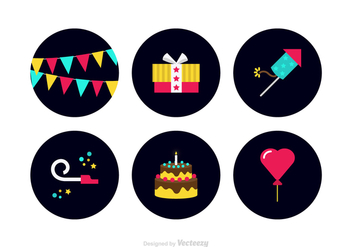 Free Colorful Party Favors Vector Icons - vector #411613 gratis